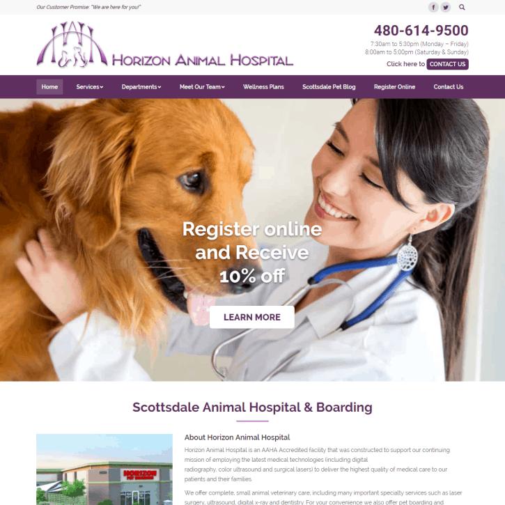 Web Design Portfolio Horizon Animal Hospital