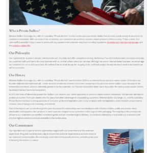 Web Design Portfolio Private Bullion