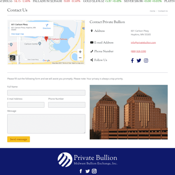 Web Design Portfolio Private Bullion