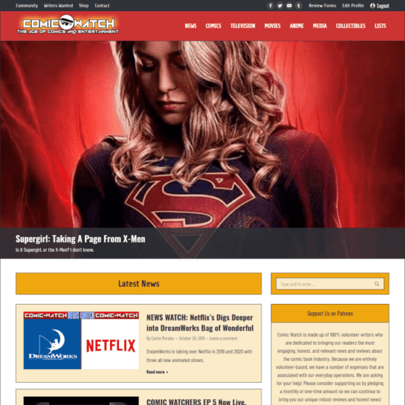 Web Design Portfolio Comic Watch