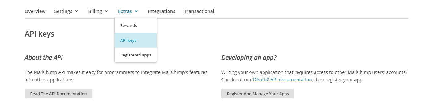 Sales Funnel Mailchimp API Settings
