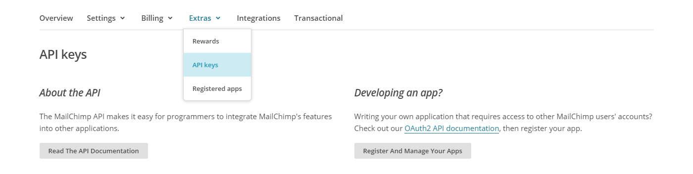Sales Funnel Mailchimp API Settings