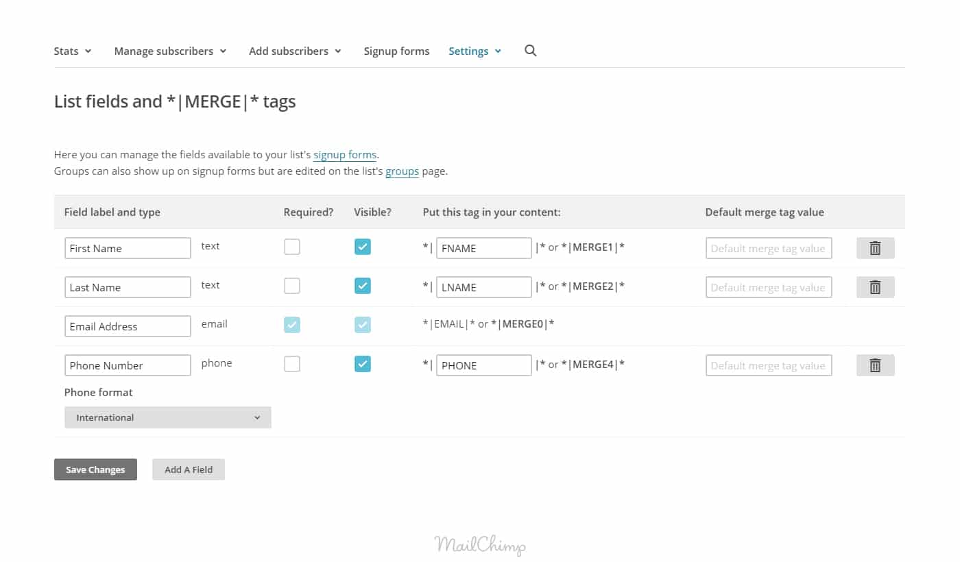 Sales Funnel MailChimp List Fields and Merge Tags