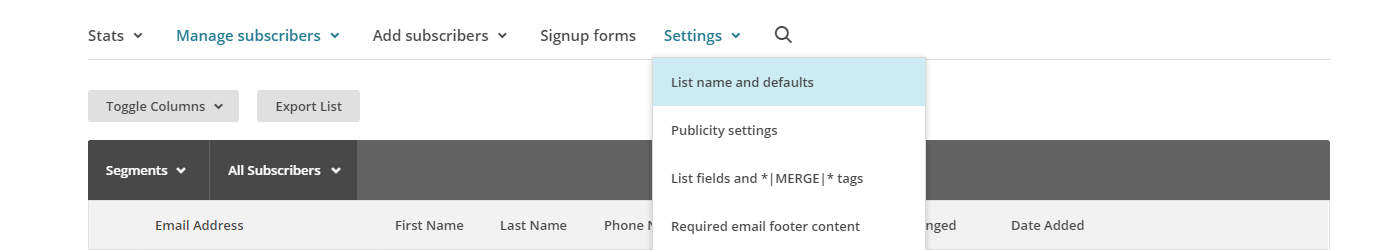 Sales Funnel Mailchimp List Settings